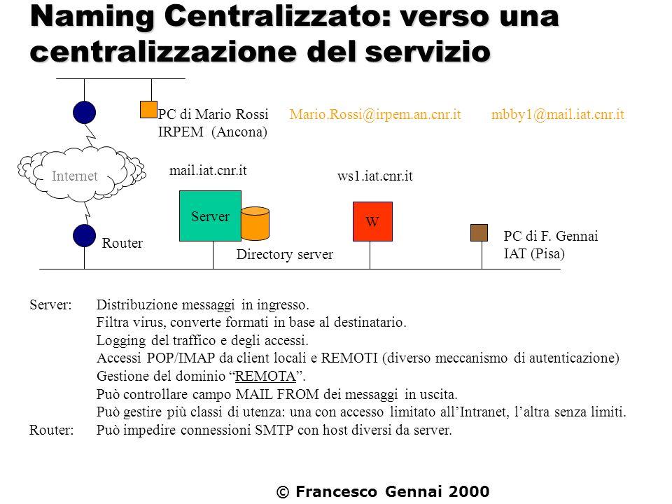 © Francesco Gennai 2000 Server: Distribuzione messaggi in ingresso. Filtra virus, converte formati in base al destinatario. Logging del traffico e deg
