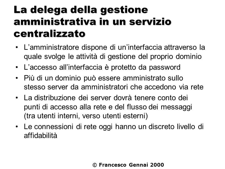 © Francesco Gennai 2000 La delega della gestione amministrativa in un servizio centralizzato Lamministratore dispone di uninterfaccia attraverso la qu