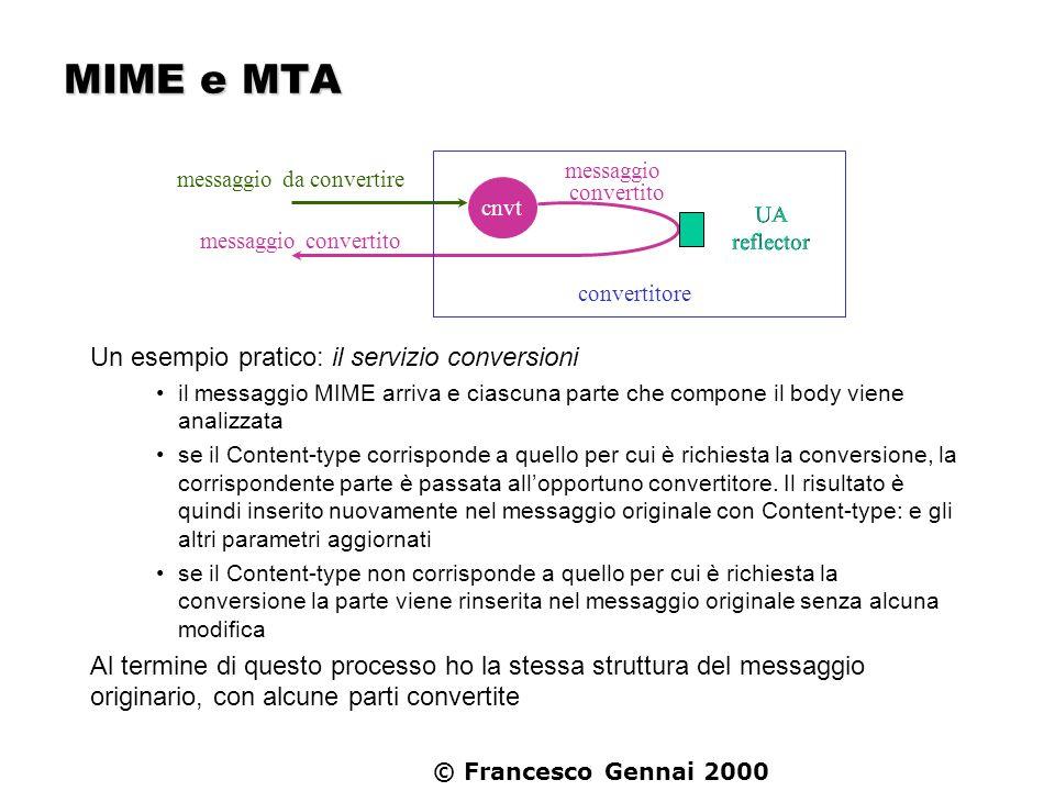 © Francesco Gennai 2000 MIME e MTA Un esempio pratico: il servizio conversioni il messaggio MIME arriva e ciascuna parte che compone il body viene ana