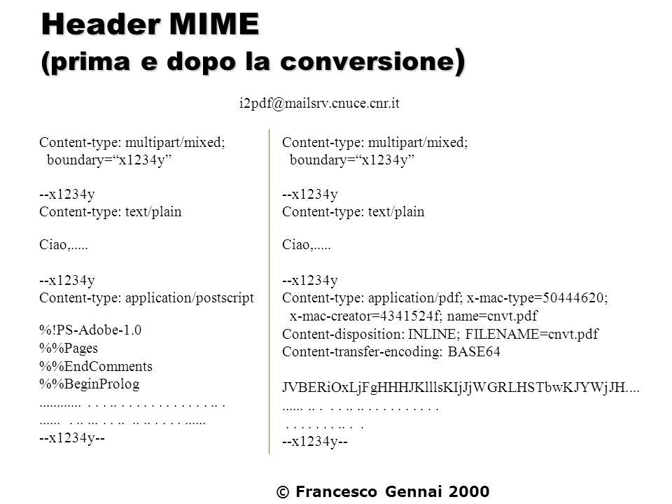 © Francesco Gennai 2000 Header MIME (prima e dopo la conversione ) Content-type: multipart/mixed; boundary=x1234y --x1234y Content-type: text/plain Ci