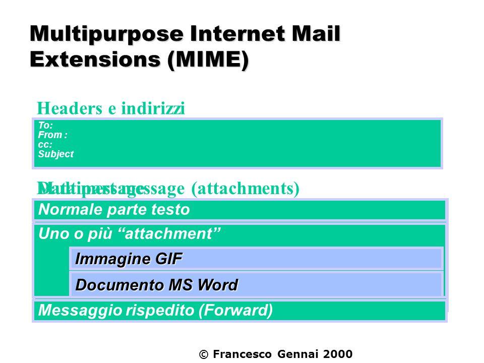 © Francesco Gennai 2000 MIME e MTA Un esempio pratico: il servizio conversioni il messaggio MIME arriva e ciascuna parte che compone il body viene analizzata se il Content-type corrisponde a quello per cui è richiesta la conversione, la corrispondente parte è passata allopportuno convertitore.