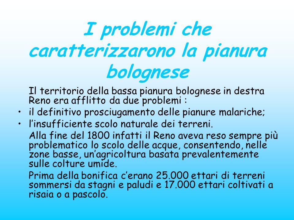 I problemi che caratterizzarono la pianura bolognese Il territorio della bassa pianura bolognese in destra Reno era afflitto da due problemi : il defi