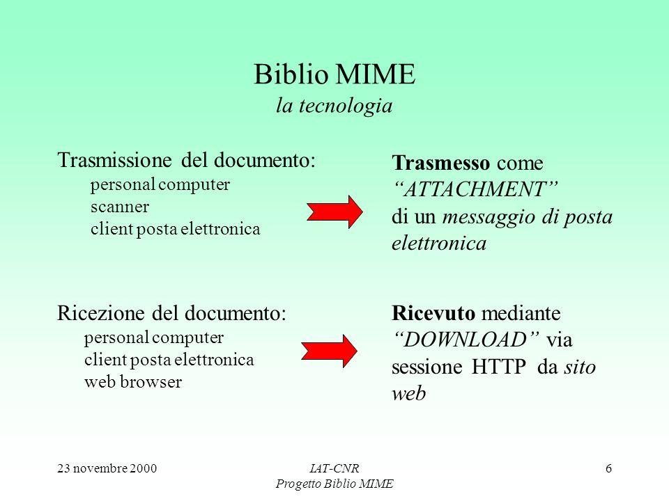 23 novembre 2000IAT-CNR Progetto Biblio MIME 6 Biblio MIME la tecnologia Trasmissione del documento: personal computer scanner client posta elettronic