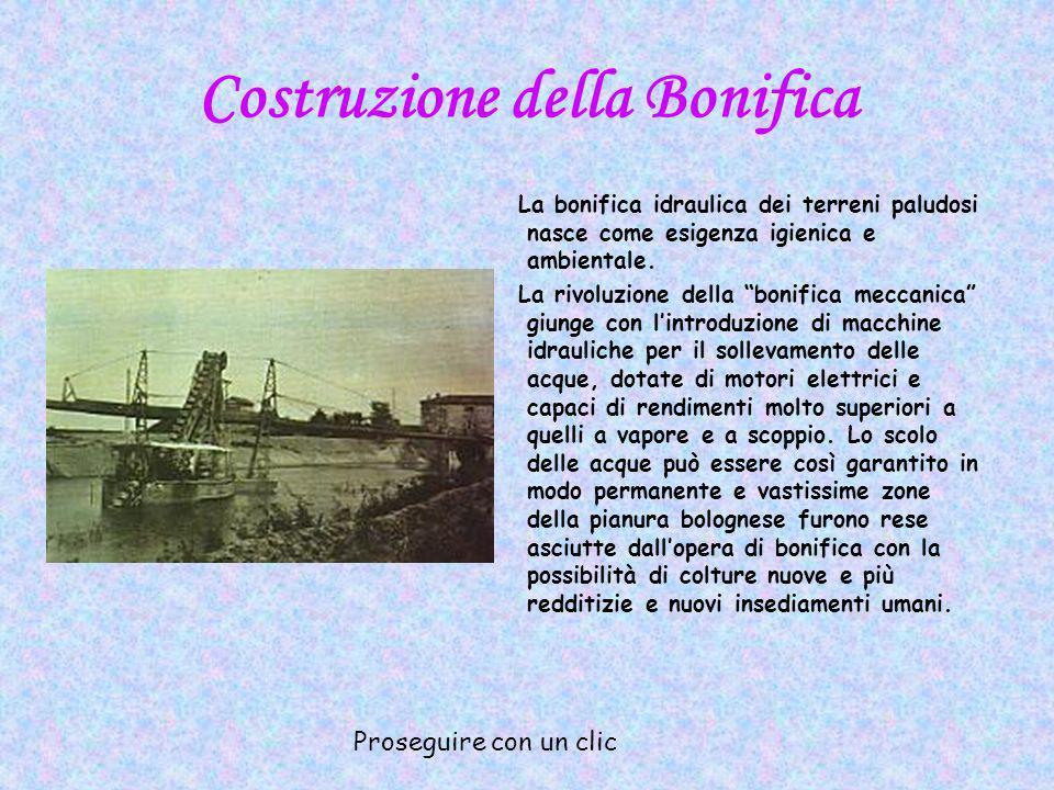 Costruzione della Bonifica Nel 1909 si costituisce il Consorzio speciale di bonifica della bassa pianura bolognese a destra del Reno e assume poco dopo la denominazione di Consorzio della Bonifica Renana.