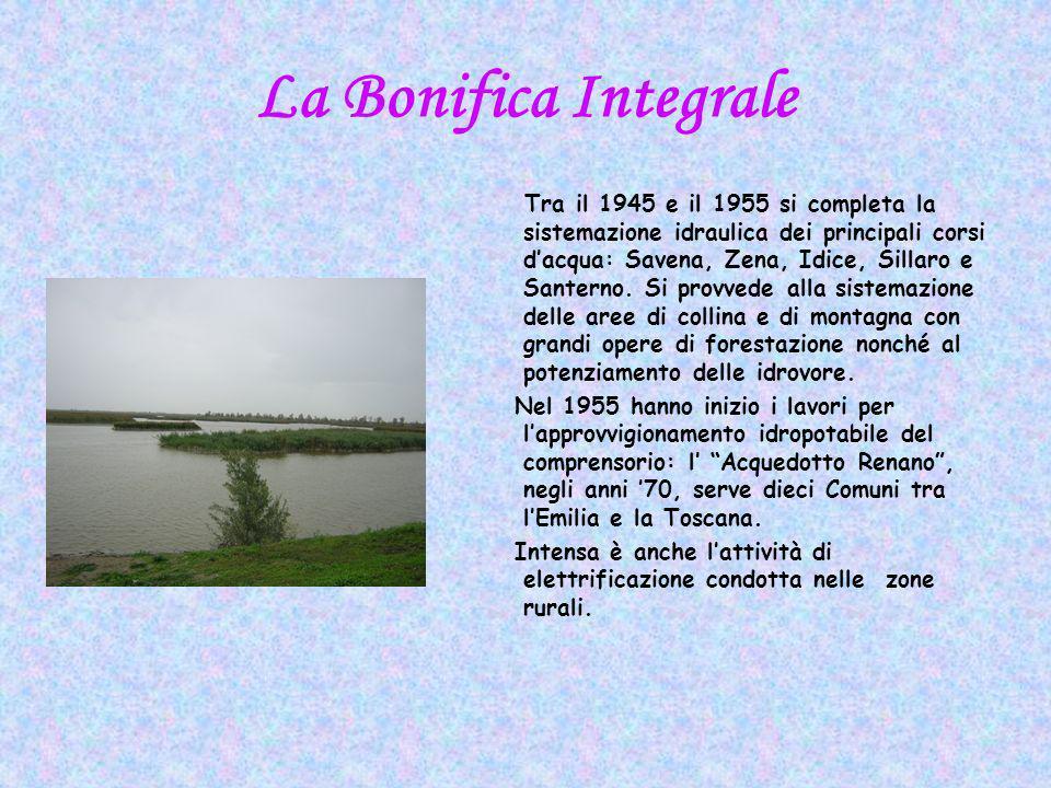 La Bonifica Integrale Tra il 1945 e il 1955 si completa la sistemazione idraulica dei principali corsi dacqua: Savena, Zena, Idice, Sillaro e Santerno.