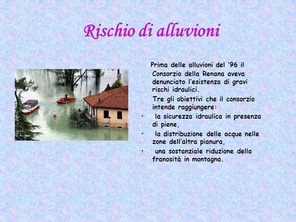 Rischio di alluvioni Prima delle alluvioni del 96 il Consorzio della Renana aveva denunciato lesistenza di gravi rischi idraulici.