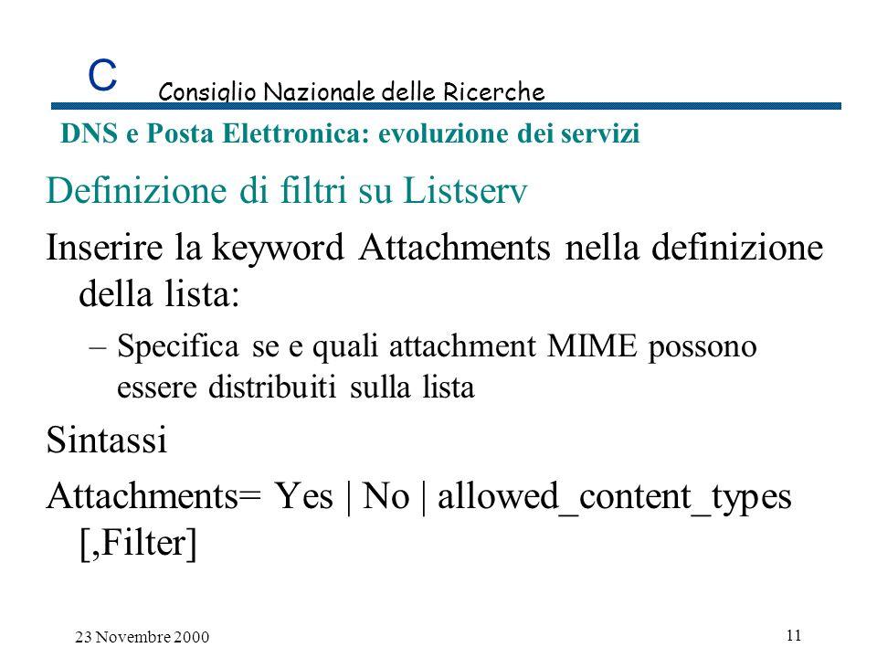C Consiglio Nazionale delle Ricerche DNS e Posta Elettronica: evoluzione dei servizi 23 Novembre 2000 11 Definizione di filtri su Listserv Inserire la