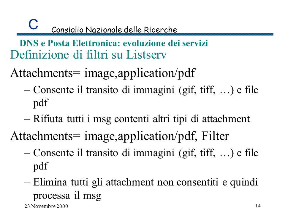 C Consiglio Nazionale delle Ricerche DNS e Posta Elettronica: evoluzione dei servizi 23 Novembre 2000 14 Definizione di filtri su Listserv Attachments= image,application/pdf –Consente il transito di immagini (gif, tiff, …) e file pdf –Rifiuta tutti i msg contenti altri tipi di attachment Attachments= image,application/pdf, Filter –Consente il transito di immagini (gif, tiff, …) e file pdf –Elimina tutti gli attachment non consentiti e quindi processa il msg