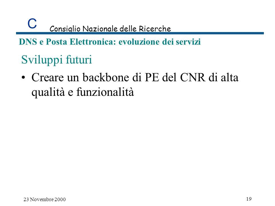 C Consiglio Nazionale delle Ricerche DNS e Posta Elettronica: evoluzione dei servizi 23 Novembre 2000 19 Sviluppi futuri Creare un backbone di PE del CNR di alta qualità e funzionalità