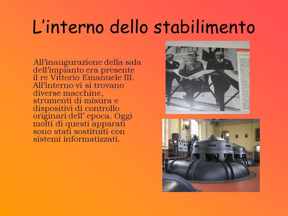Linterno dello stabilimento Allinaugurazione della sala dellimpianto era presente il re Vittorio Emanuele III. Allinterno vi si trovano diverse macchi