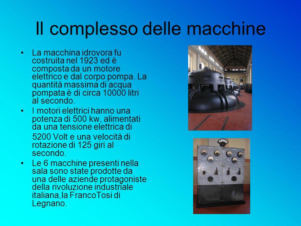 Il complesso delle macchine La macchina idrovora fu costruita nel 1923 ed è composta da un motore elettrico e dal corpo pompa. La quantità massima di