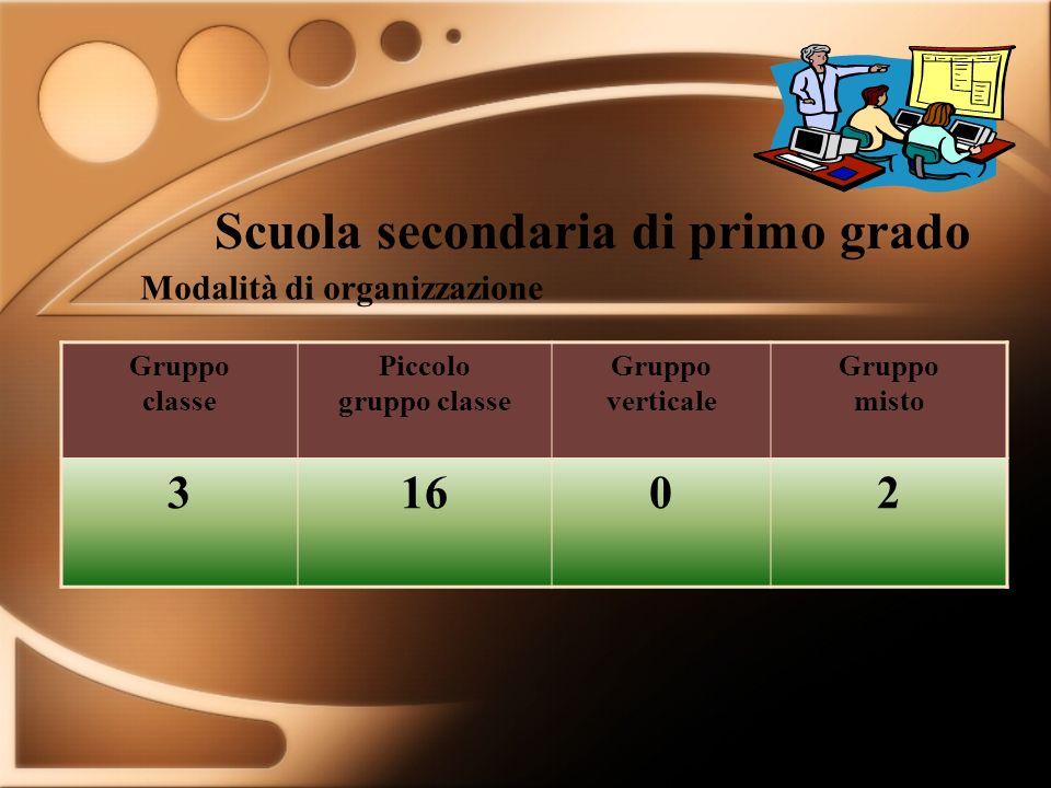 Scuola secondaria di primo grado Gruppo classe Piccolo gruppo classe Gruppo verticale Gruppo misto 31602 Modalità di organizzazione