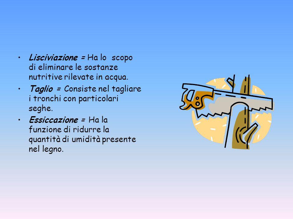 Lisciviazione = Ha lo scopo di eliminare le sostanze nutritive rilevate in acqua. Taglio = Consiste nel tagliare i tronchi con particolari seghe. Essi