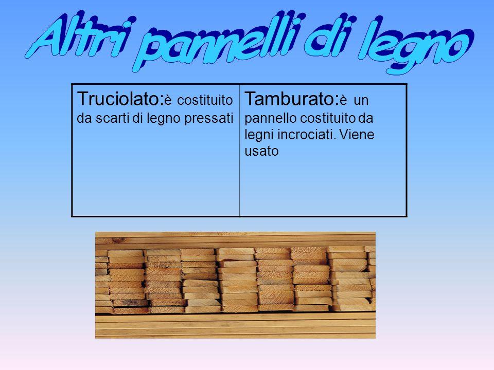 Truciolato: è costituito da scarti di legno pressati Tamburato: è un pannello costituito da legni incrociati. Viene usato