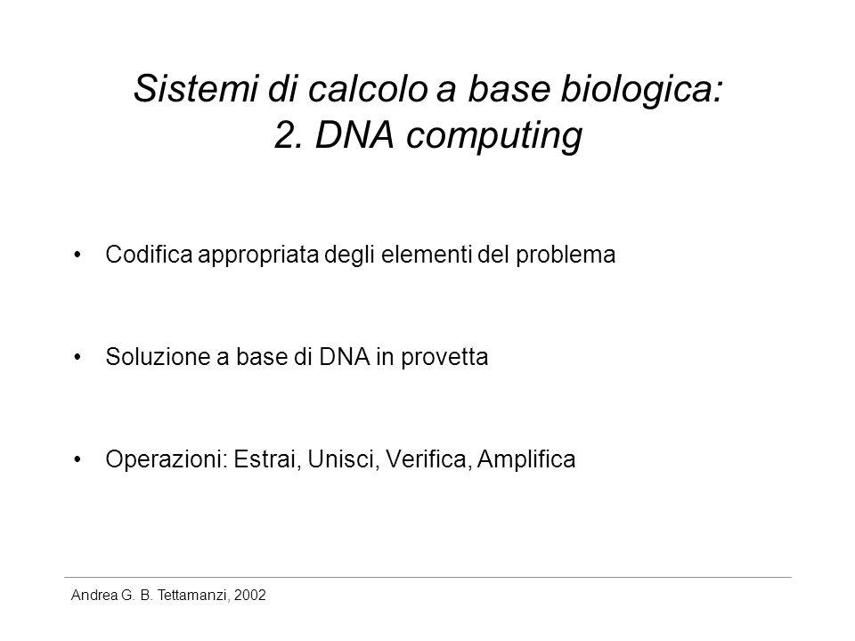 Andrea G. B. Tettamanzi, 2002 Sistemi di calcolo a base biologica: 2. DNA computing Codifica appropriata degli elementi del problema Soluzione a base