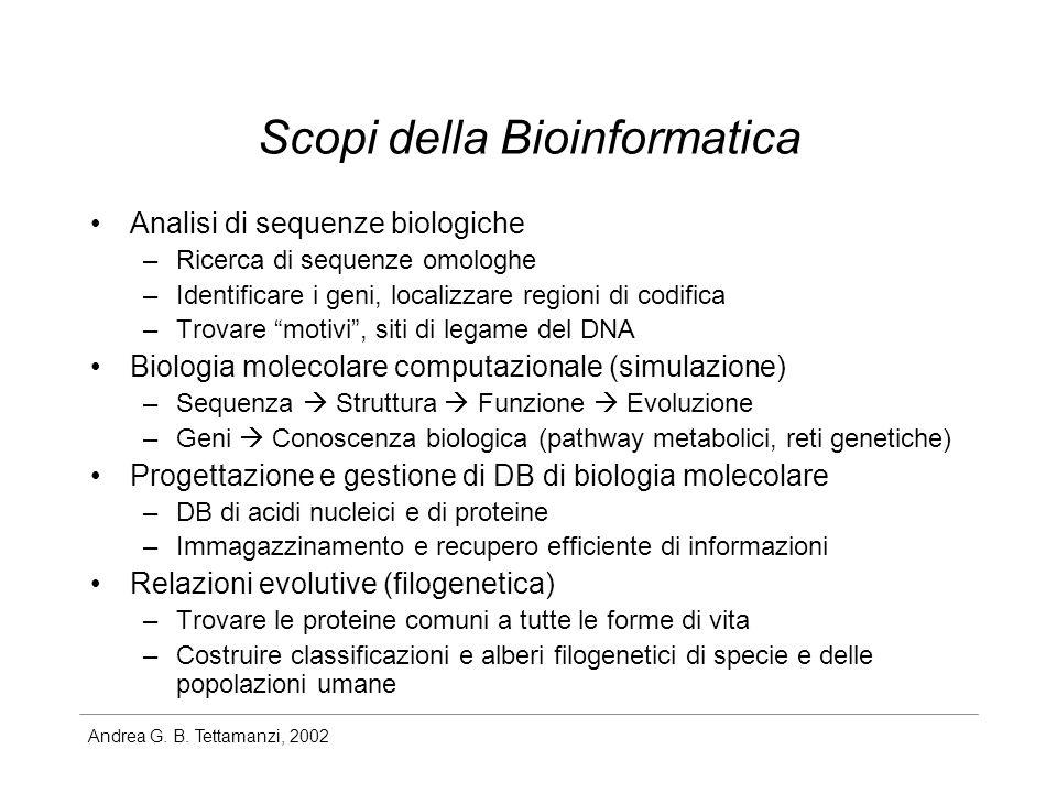 Andrea G. B. Tettamanzi, 2002 Scopi della Bioinformatica Analisi di sequenze biologiche –Ricerca di sequenze omologhe –Identificare i geni, localizzar