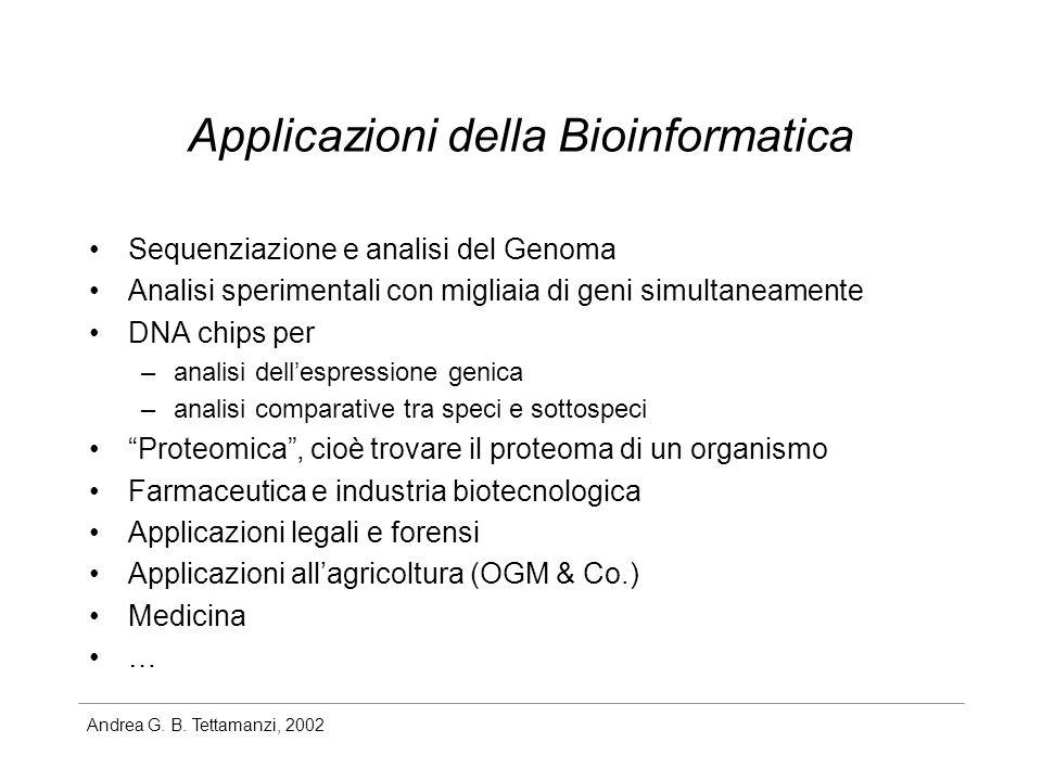 Andrea G. B. Tettamanzi, 2002 Applicazioni della Bioinformatica Sequenziazione e analisi del Genoma Analisi sperimentali con migliaia di geni simultan