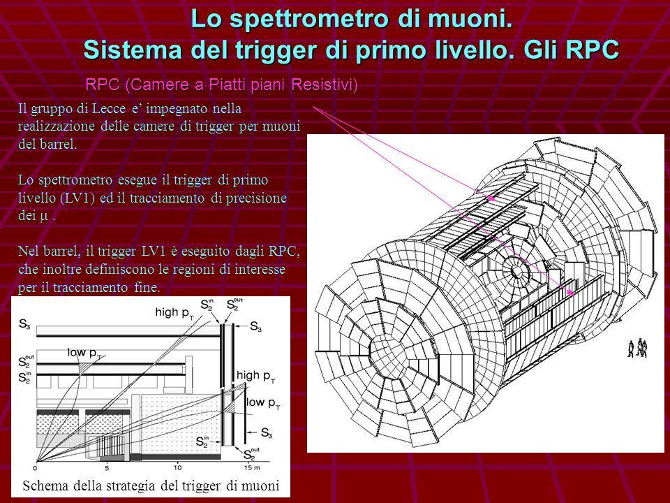 Lo spettrometro di muoni. Sistema del trigger di primo livello. Gli RPC RPC (Camere a Piatti piani Resistivi) Il gruppo di Lecce e impegnato nella rea