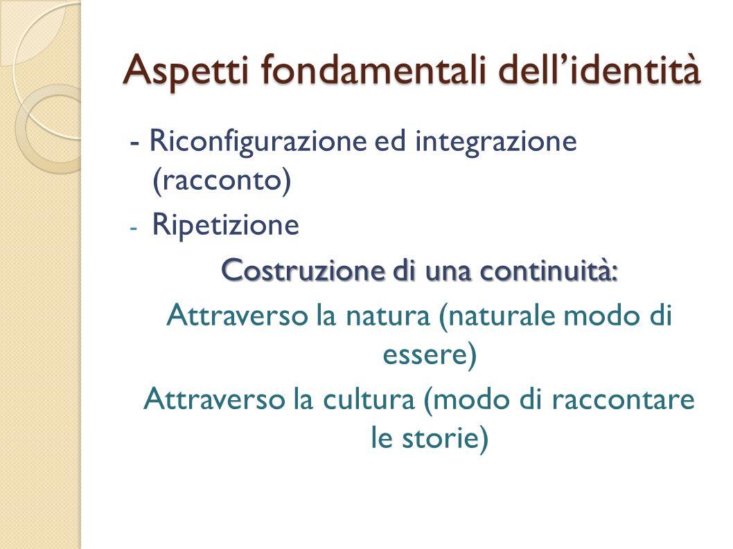 Aspetti fondamentali dellidentità - Riconfigurazione ed integrazione (racconto) - Ripetizione Costruzione di una continuità: Attraverso la natura (nat