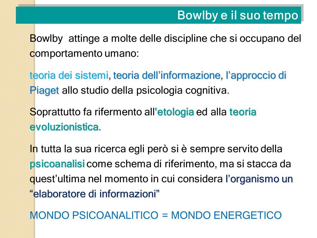 Bowlby e il suo tempo Bowlby attinge a molte delle discipline che si occupano del comportamento umano: teoria dei sistemiteoria dellinformazionelappro