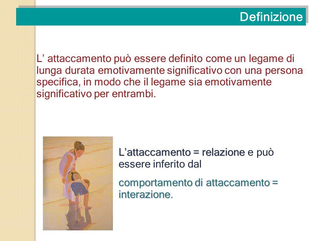 Definizione L attaccamento può essere definito come un legame di lunga durata emotivamente significativo con una persona specifica, in modo che il leg