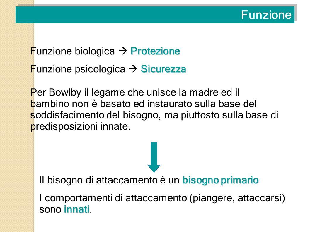 Funzione Per Bowlby il legame che unisce la madre ed il bambino non è basato ed instaurato sulla base del soddisfacimento del bisogno, ma piuttosto su