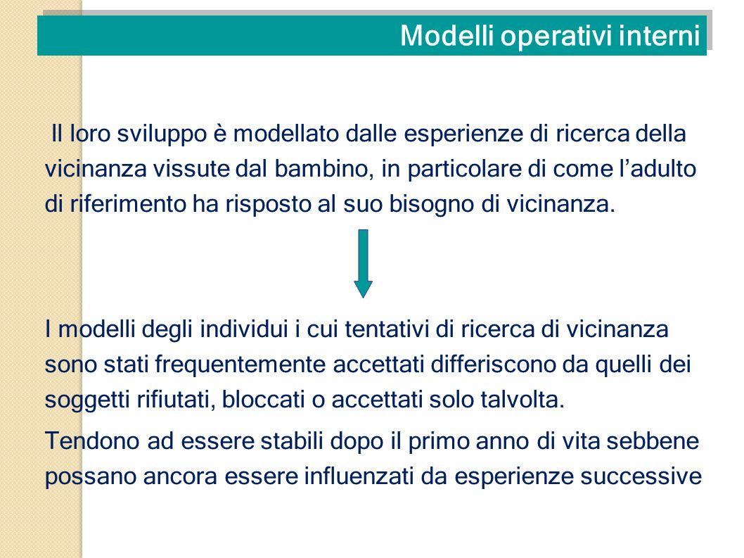 Modelli operativi interni Il loro sviluppo è modellato dalle esperienze di ricerca della vicinanza vissute dal bambino, in particolare di come ladulto
