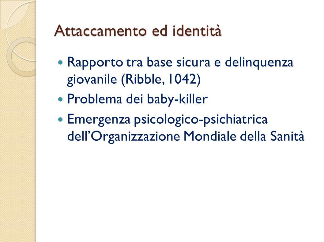 Attaccamento ed identità Rapporto tra base sicura e delinquenza giovanile (Ribble, 1042) Problema dei baby-killer Emergenza psicologico-psichiatrica d