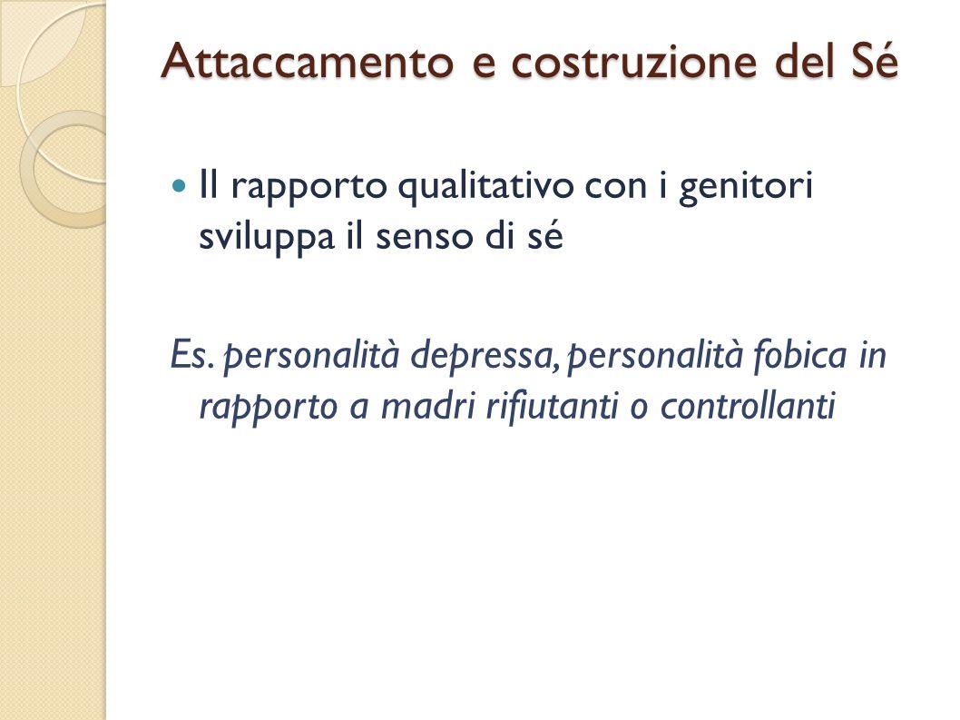 Attaccamento e costruzione del Sé Il rapporto qualitativo con i genitori sviluppa il senso di sé Es. personalità depressa, personalità fobica in rappo