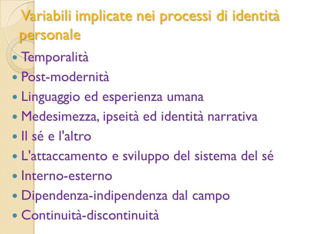 Variabili implicate nei processi di identità personale Variabili implicate nei processi di identità personale Temporalità Post-modernità Linguaggio ed