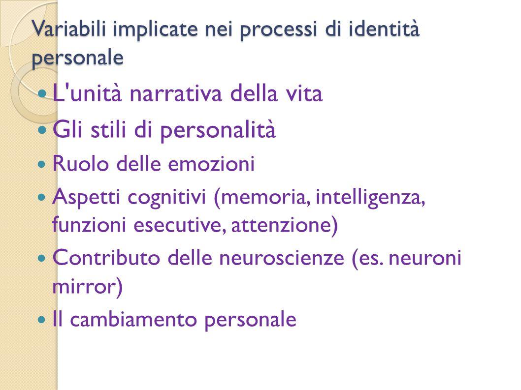 Variabili implicate nei processi di identità personale L'unità narrativa della vita Gli stili di personalità Ruolo delle emozioni Aspetti cognitivi (m