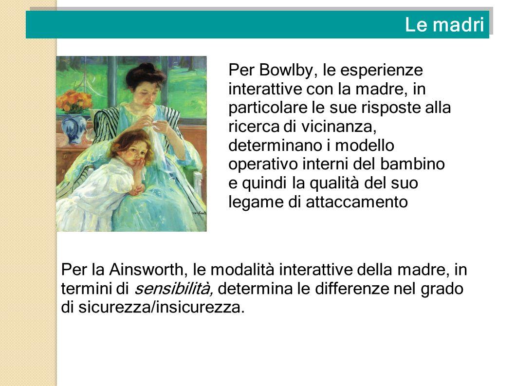 Le madri Per Bowlby, le esperienze interattive con la madre, in particolare le sue risposte alla ricerca di vicinanza, determinano i modello operativo