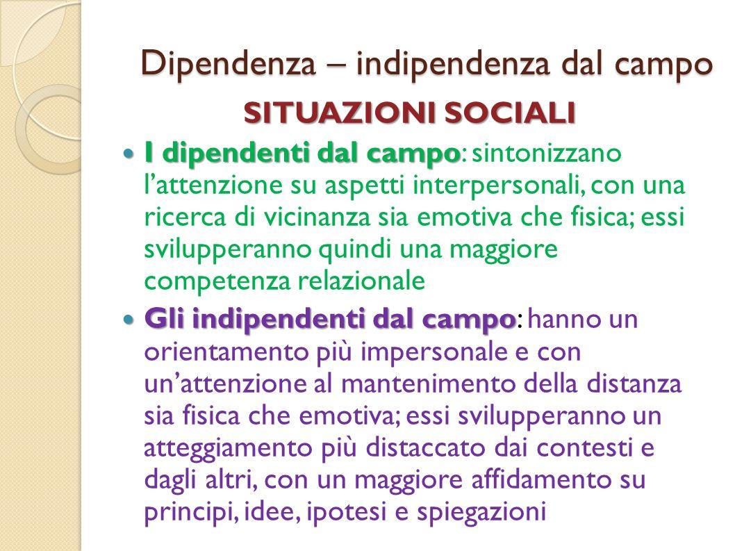 Dipendenza – indipendenza dal campo SITUAZIONI SOCIALI I dipendenti dal campo I dipendenti dal campo: sintonizzano lattenzione su aspetti interpersona