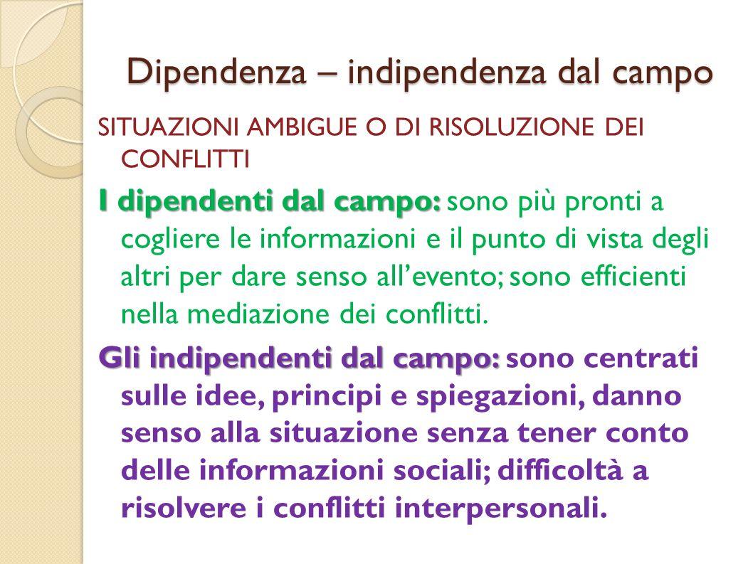 Dipendenza – indipendenza dal campo SITUAZIONI AMBIGUE O DI RISOLUZIONE DEI CONFLITTI I dipendenti dal campo: I dipendenti dal campo: sono più pronti