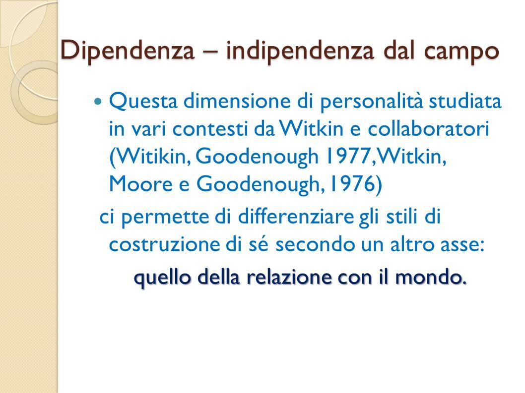 Dipendenza – indipendenza dal campo Questa dimensione di personalità studiata in vari contesti da Witkin e collaboratori (Witikin, Goodenough 1977, Wi