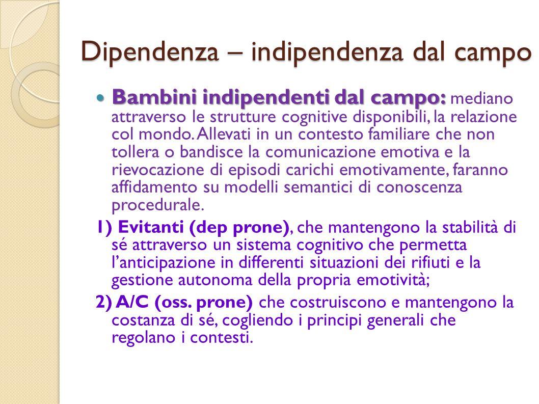 Dipendenza – indipendenza dal campo Bambini indipendenti dal campo: Bambini indipendenti dal campo: mediano attraverso le strutture cognitive disponib
