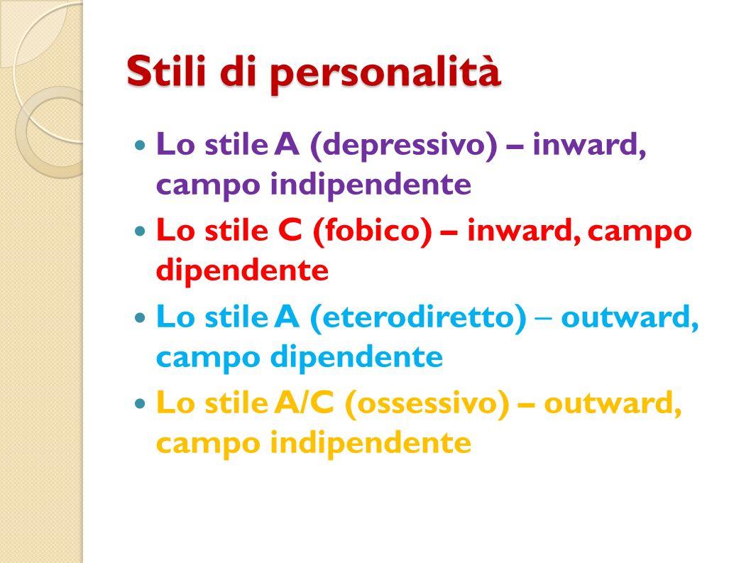 Stili di personalità Lo stile A (depressivo) – inward, campo indipendente Lo stile C (fobico) – inward, campo dipendente Lo stile A (eterodiretto) – o