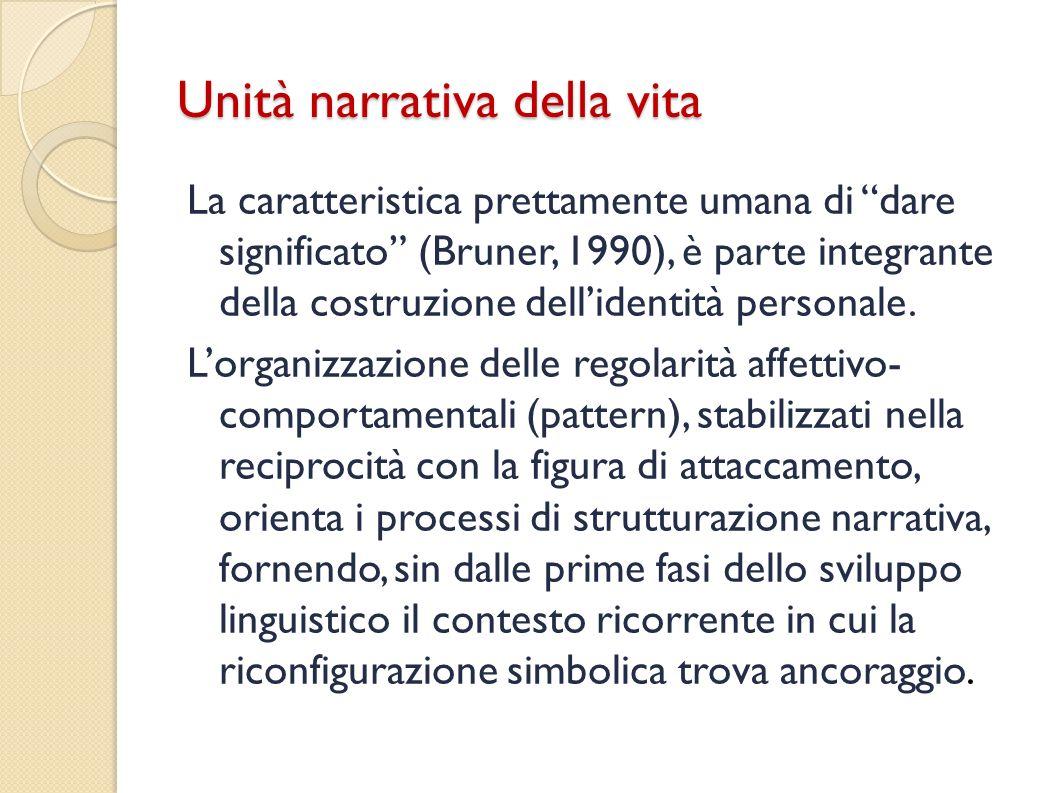 Unità narrativa della vita La caratteristica prettamente umana di dare significato (Bruner, 1990), è parte integrante della costruzione dellidentità p