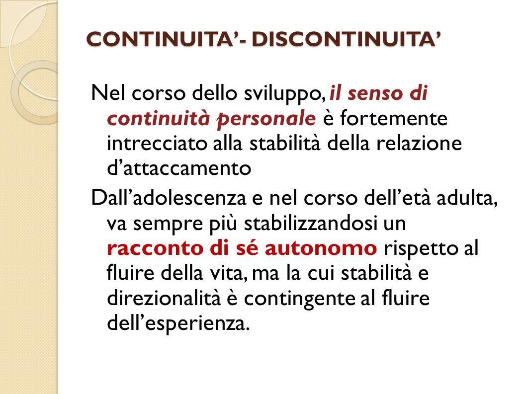 CONTINUITA- DISCONTINUITA Nel corso dello sviluppo, il senso di continuità personale è fortemente intrecciato alla stabilità della relazione dattaccam