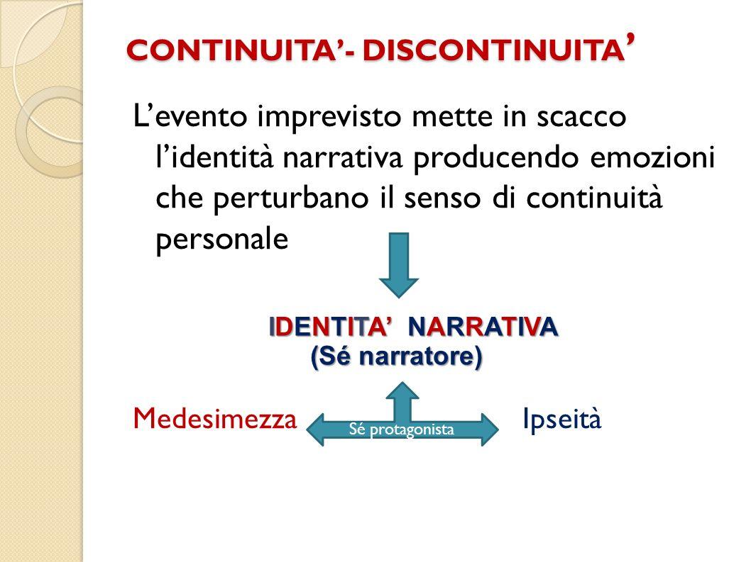 CONTINUITA- DISCONTINUITA CONTINUITA- DISCONTINUITA Levento imprevisto mette in scacco lidentità narrativa producendo emozioni che perturbano il senso