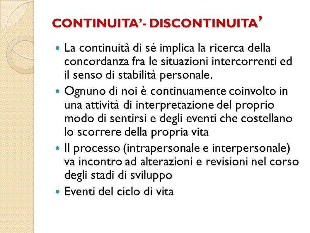 CONTINUITA- DISCONTINUITA CONTINUITA- DISCONTINUITA La continuità di sé implica la ricerca della concordanza fra le situazioni intercorrenti ed il sen
