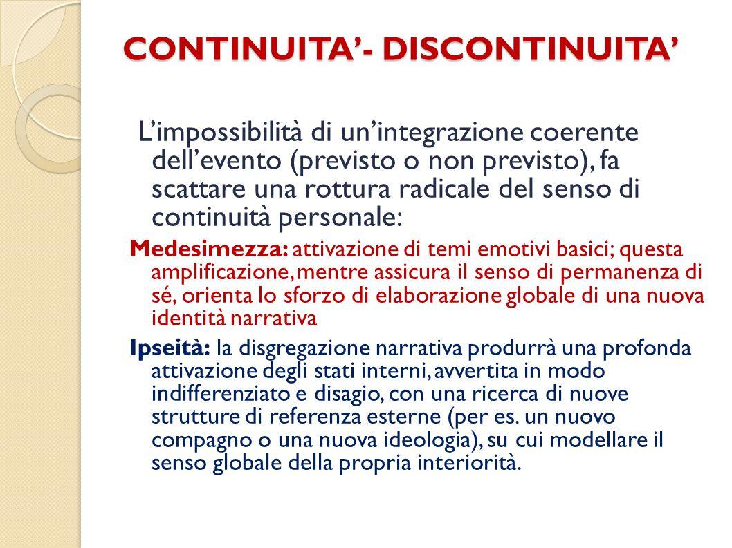 CONTINUITA- DISCONTINUITA Limpossibilità di unintegrazione coerente dellevento (previsto o non previsto), fa scattare una rottura radicale del senso d