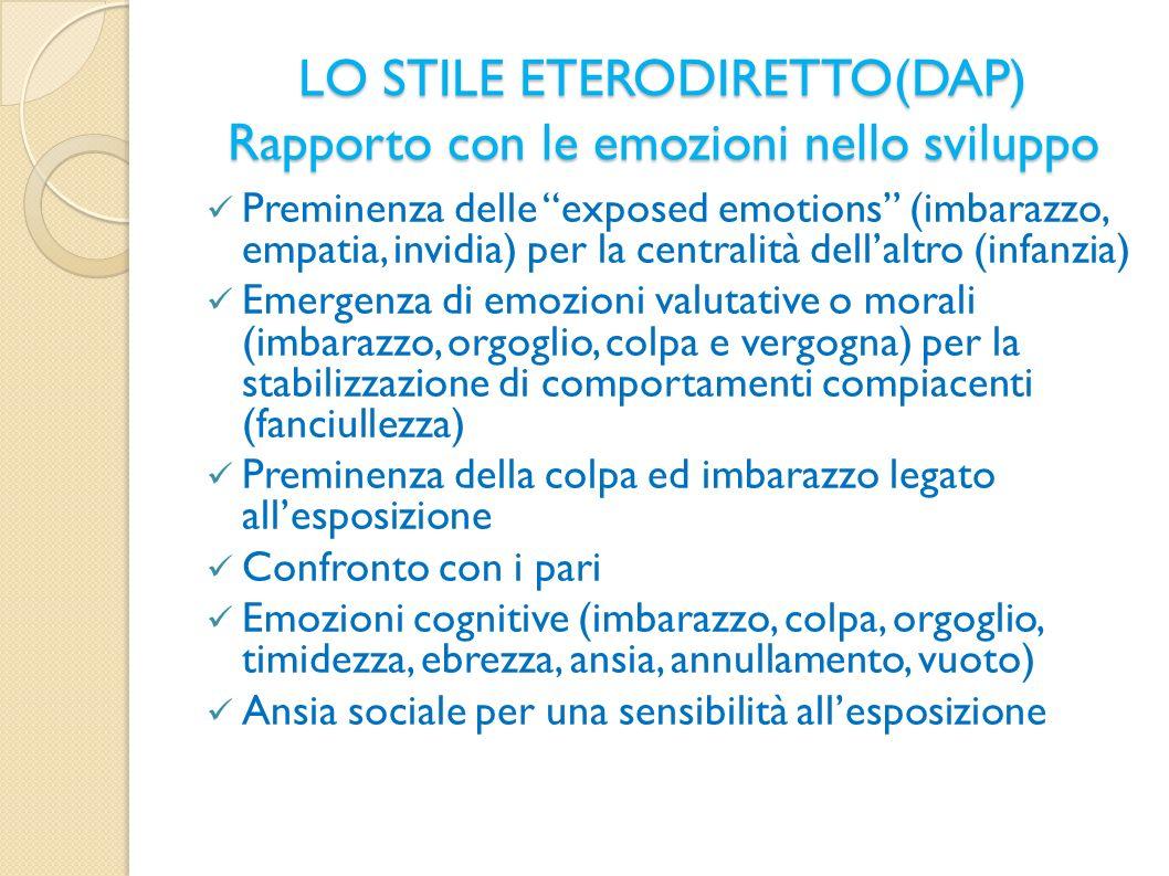 LO STILE ETERODIRETTO(DAP) Rapporto con le emozioni nello sviluppo Preminenza delle exposed emotions (imbarazzo, empatia, invidia) per la centralità d