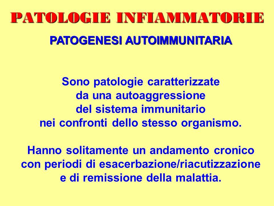 PATOLOGIE INFIAMMATORIE PATOGENESI AUTOIMMUNITARIA Sono patologie caratterizzate da una autoaggressione del sistema immunitario nei confronti dello st