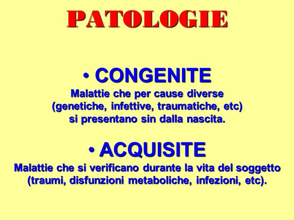 PATOLOGIE CONGENITE CONGENITE Malattie che per cause diverse (genetiche, infettive, traumatiche, etc) si presentano sin dalla nascita. ACQUISITE ACQUI