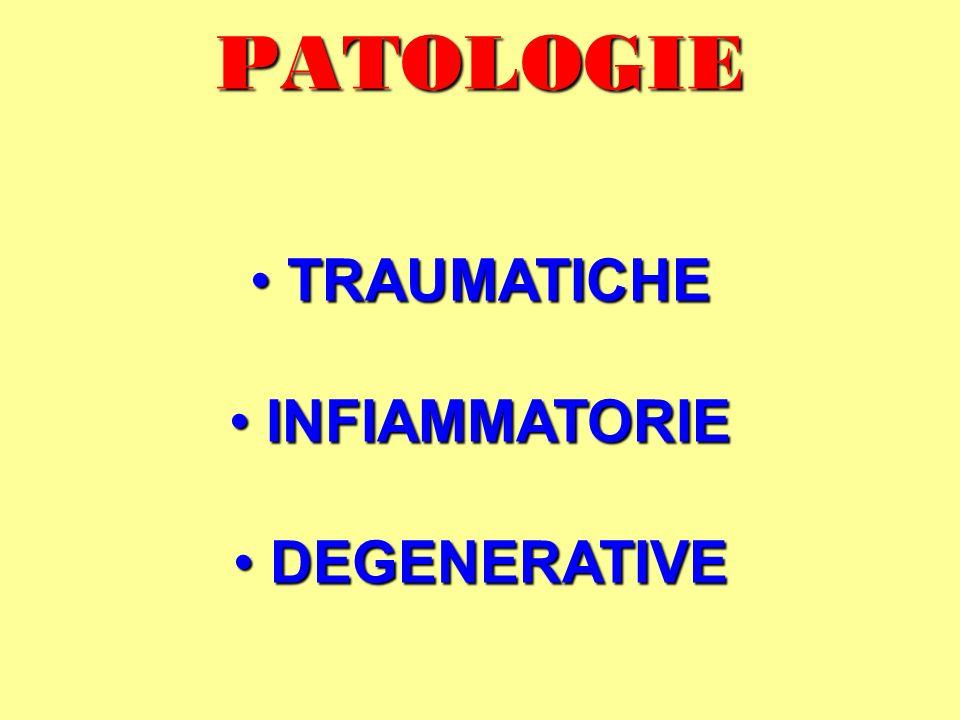 PATOLOGIE TRAUMATICHE TRAUMATICHE INFIAMMATORIE INFIAMMATORIE DEGENERATIVE DEGENERATIVE
