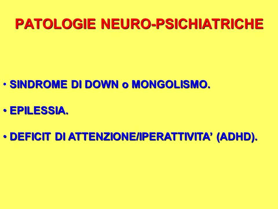 PATOLOGIE NEURO-PSICHIATRICHE SINDROME DI DOWN o MONGOLISMO. EPILESSIA. EPILESSIA. DEFICIT DI ATTENZIONE/IPERATTIVITA (ADHD). DEFICIT DI ATTENZIONE/IP