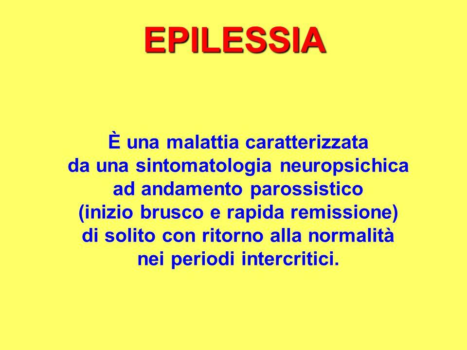 EPILESSIA È una malattia caratterizzata da una sintomatologia neuropsichica ad andamento parossistico (inizio brusco e rapida remissione) di solito co