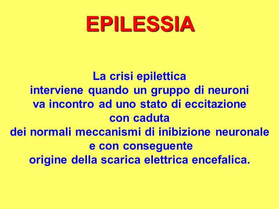EPILESSIA La crisi epilettica interviene quando un gruppo di neuroni va incontro ad uno stato di eccitazione con caduta dei normali meccanismi di inib