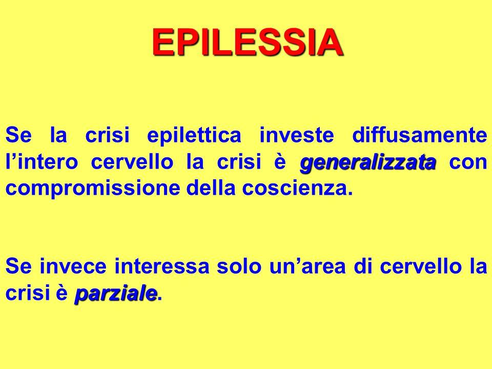 EPILESSIA generalizzata Se la crisi epilettica investe diffusamente lintero cervello la crisi è generalizzata con compromissione della coscienza. parz